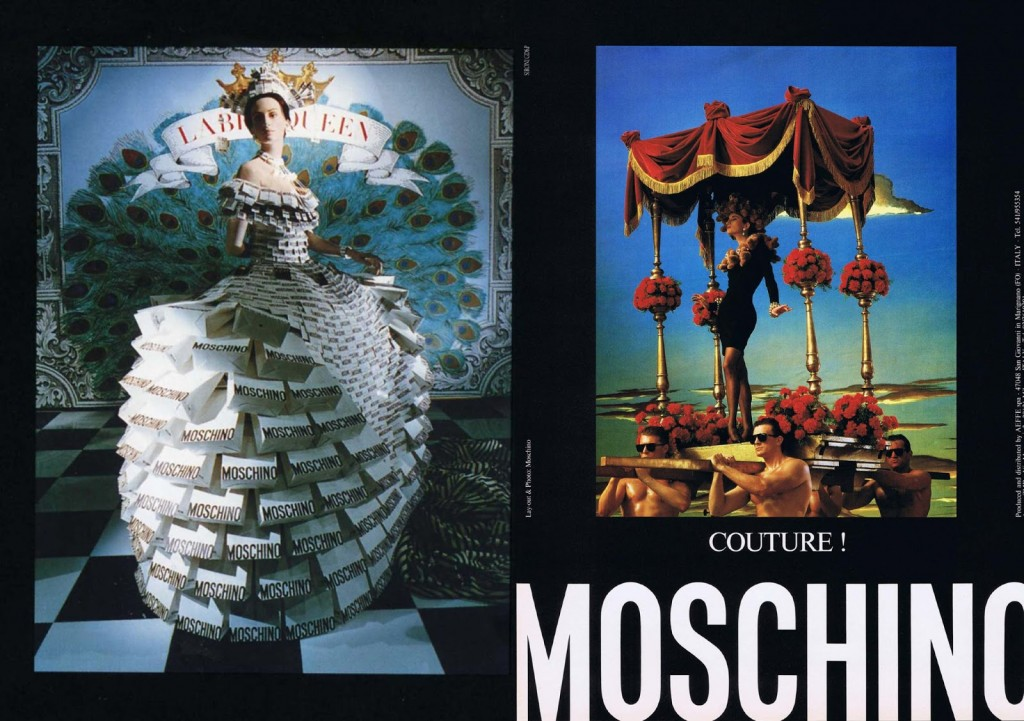 Mochino window fall 1988 campaign; source House of herman Blog)